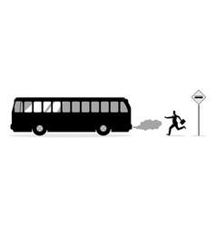 Businessman chasing bus vector