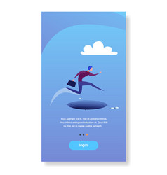 businessman jump over gap abyss business man risk vector image