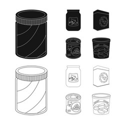Can and food symbol set of vector