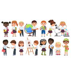Cartoon cute kids set school boys and girls vector
