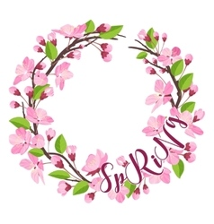 Cherry Blossom Spring Background - with Floral vector