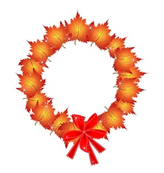 Christmas Wreath of Orange Maple Leaves and Bows vector image
