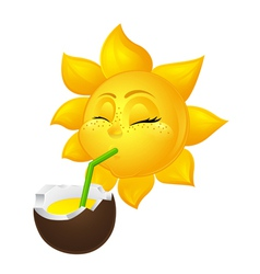 close eyed sun drinks coconut juice vector image
