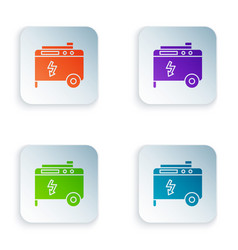 Color portable power electric generator icon vector