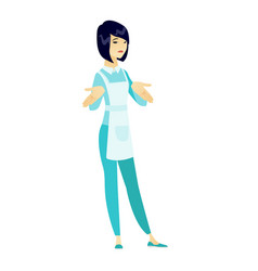 Confused cleaner shrugging shoulders vector