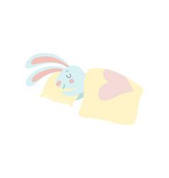 Cute bunny animal sleeping on its bed vector
