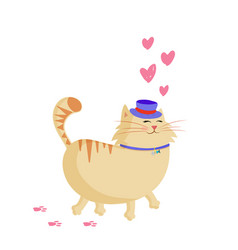 cute cartoon smiling ginger cat in top hat vector image