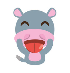 cute hippo animal character funny vector image