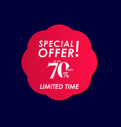Discount special offer up to 70 off limited time vector