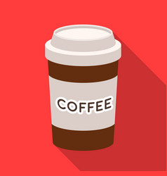 Disposable coffee cup icon in flat style isolated vector