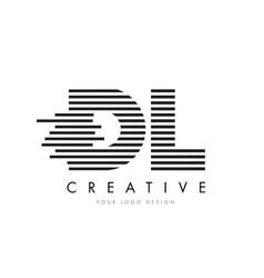 dl d l zebra letter logo design with black and vector image