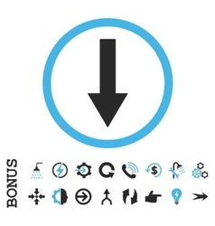 Down Rounded Arrow Flat Icon With Bonus vector image