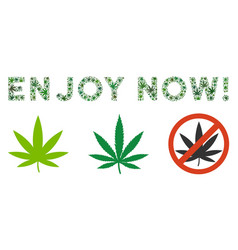 Enjoy now caption collage of weed leaves vector