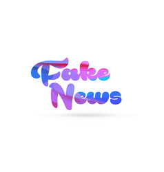 Fake news pink blue color word text logo icon vector