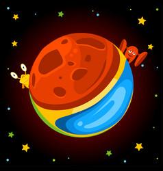 Fantasy cartoon planet with aliens vector
