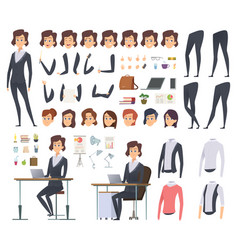 Female business animation director office manager vector