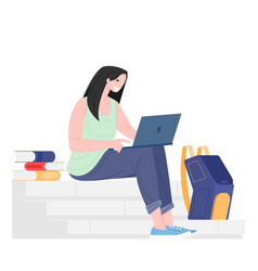 Female student sitting with books laptop vector