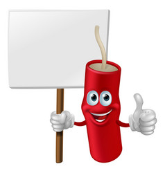 Fireworks man holding a sign vector