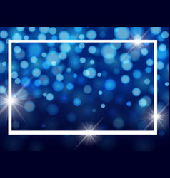Frame template design with lights on blue vector