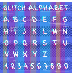 glitch hacker alphabet vector image