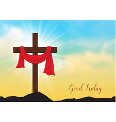 Good friday background with wooden cross and sun vector