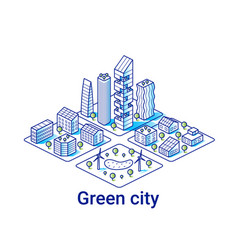 green city isometric linear vector image