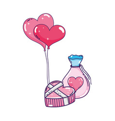 heart shaped party balloons with mason jar vector image