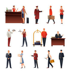 Hotel staff flat icons set vector