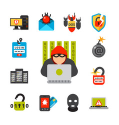 Internet security safety icon virus attack vector