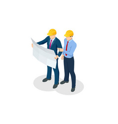Isometric builders on building site looking at vector
