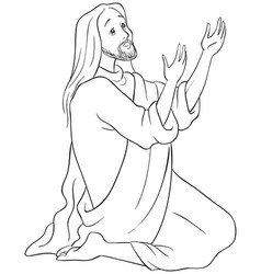 Jesus kneeling in prayer coloring page vector