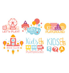 Kids land club logo set playiground education vector