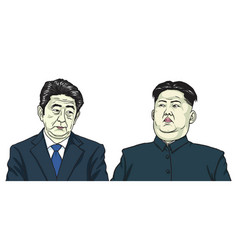 Kim jong un with shinzo abe cartoon caricature vector