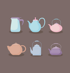 kitchen teapots pastel set icons vector image