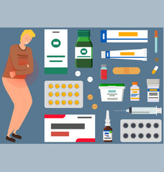 Man with abdominal pain next to medicines tablets vector