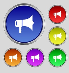 Megaphone icon sign Round symbol on bright vector