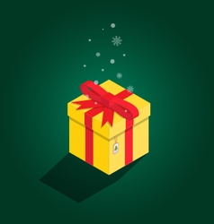 Merry Christmas yellow gift isometric vector image