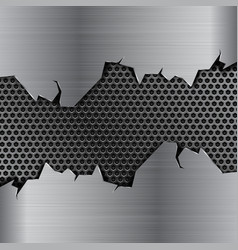 Metal background with torn edges and perforation vector