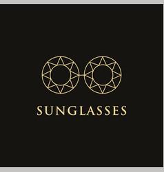 minimalist ethnic lineart sun glasses logo vector image