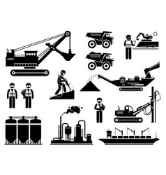 mining quarry site workers and heavy machinery vector image