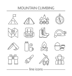 Mountain Climbing Linear Icon Set vector