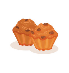 Muffin with raisins sweet bakery pastry product vector
