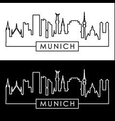 Munich skyline linear style editable file vector