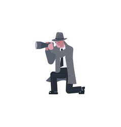 Mysterious man takes aim with a photo camera vector