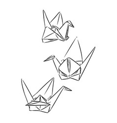 Origami paper hand drawn swans sketch doodles vector
