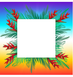 Palm leaves on frame vector