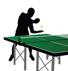 ping pong player silhouette four vector image