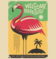 Pink flamingo retro poster design vector