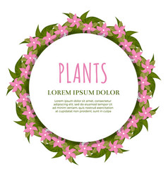 plants banner concept - green and flowers round vector image
