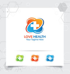 Plus symbol medical health logo design heart icon vector